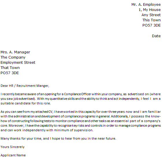 Compliance Officer Job Application Cover Letter Example