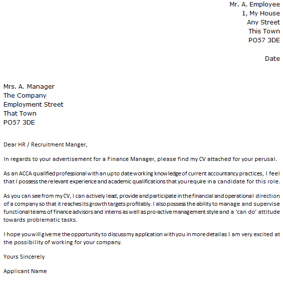 Finance Manager Cover Letter Example for Job Applications - Learnist.org