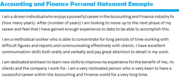 Personal statement essay help accounting and finance