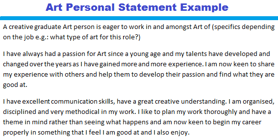 Art Personal Statement Example - forums.learnist.org