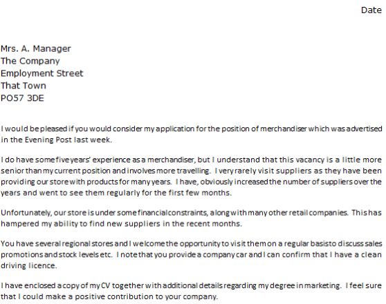 Cover Letter For Visual Merchandiser Resume