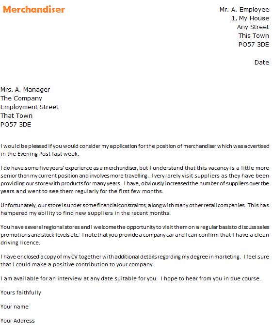Merchandiser Cover Letter Example - Learnist.org