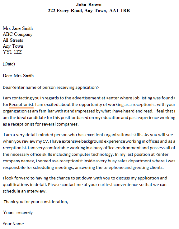 cover letter for receptionist position uk