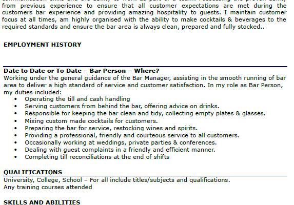 bar person cv