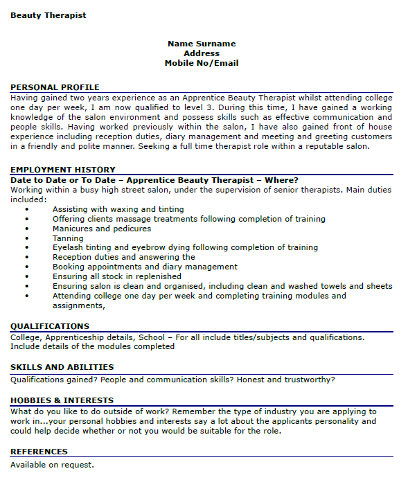 beauty therapist cv example
