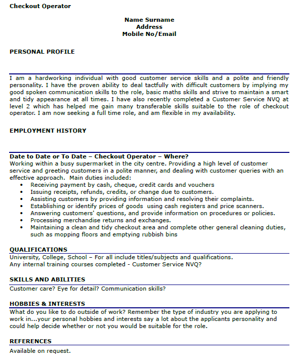 checkout operator cv example forumslearnistorg - Personal Interests On Resume Examples