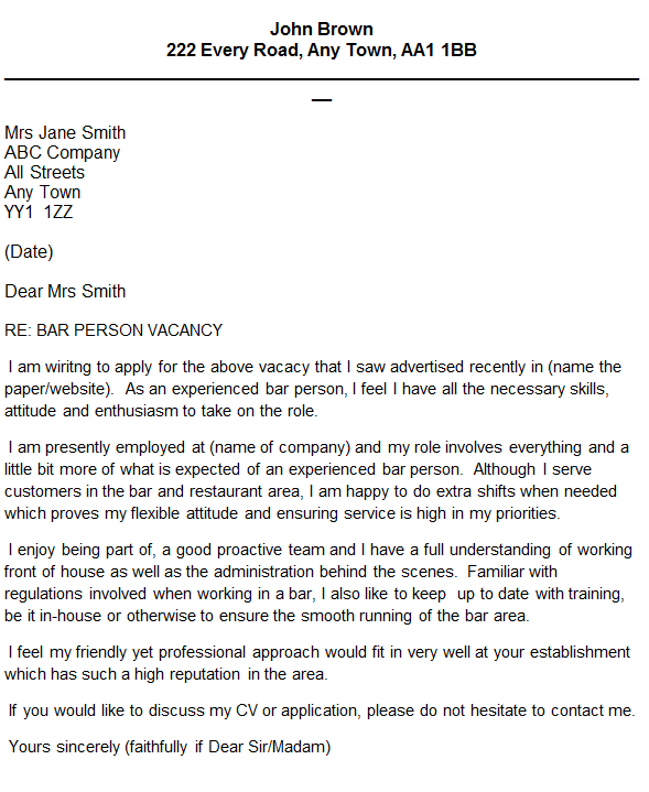 bar person cover letter example in cover letters page 1 of 1