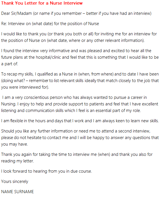 Thank you letter for a nurse interview forumslearnist good luck expocarfo