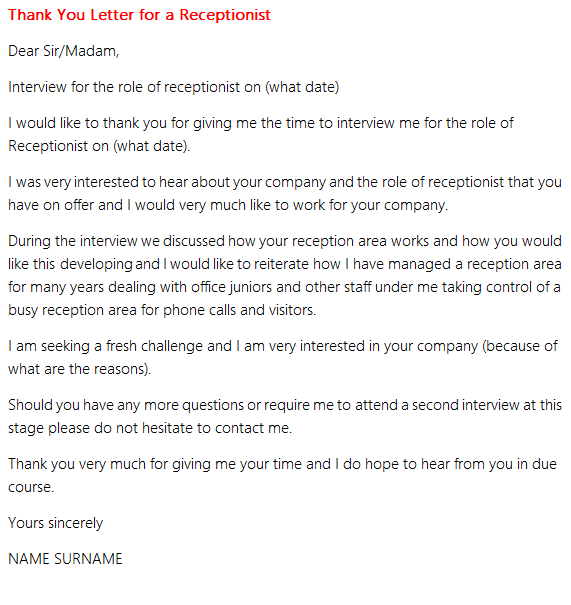 Thank you letter for a receptionist interview in thank you letters good luck expocarfo