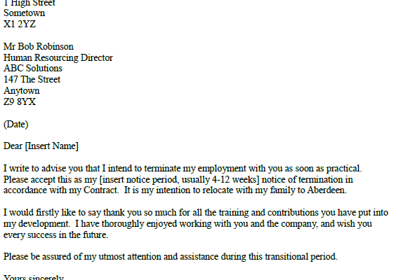 resignation letter example career change of job resignation letter