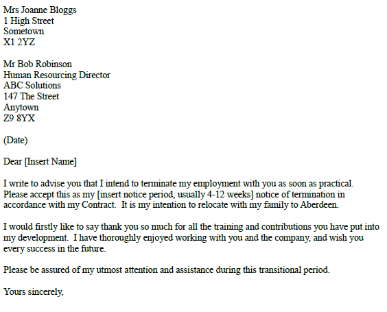 relocate resignation letter example