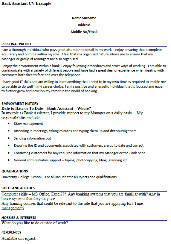 bank assistant cv example