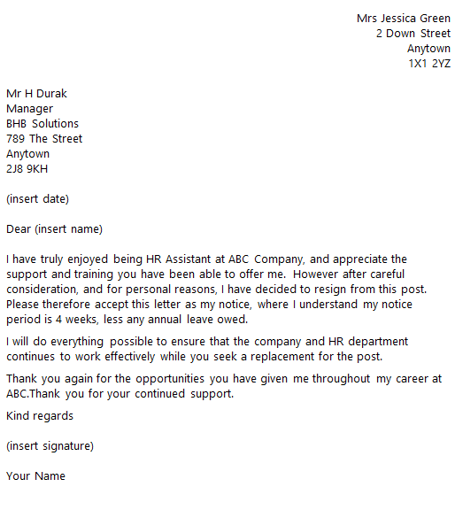 hr assistant resignation letter