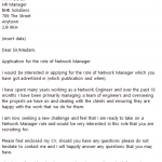 network manager cover letter