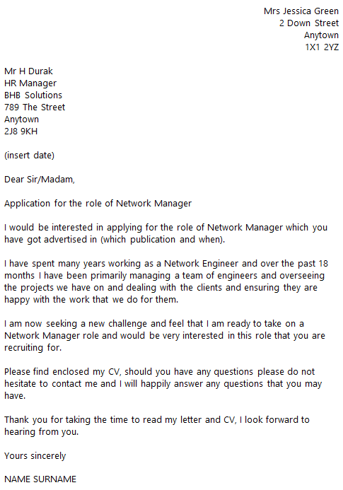 Network administrator cover letter word