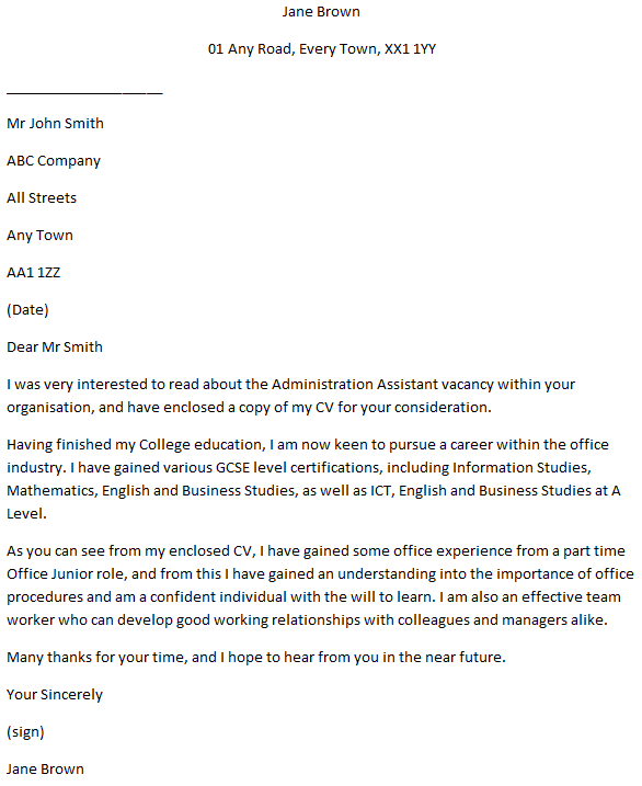 Administration Assistant Cover Letter Example