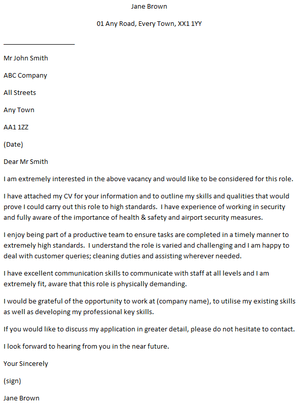 Airport Ramp Agent Cover Letter Example