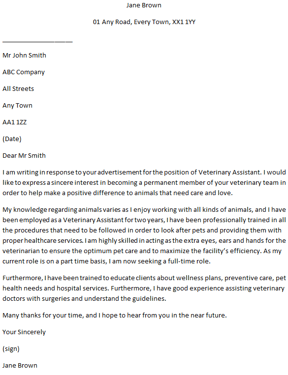 Animal Care Cover Letter Example