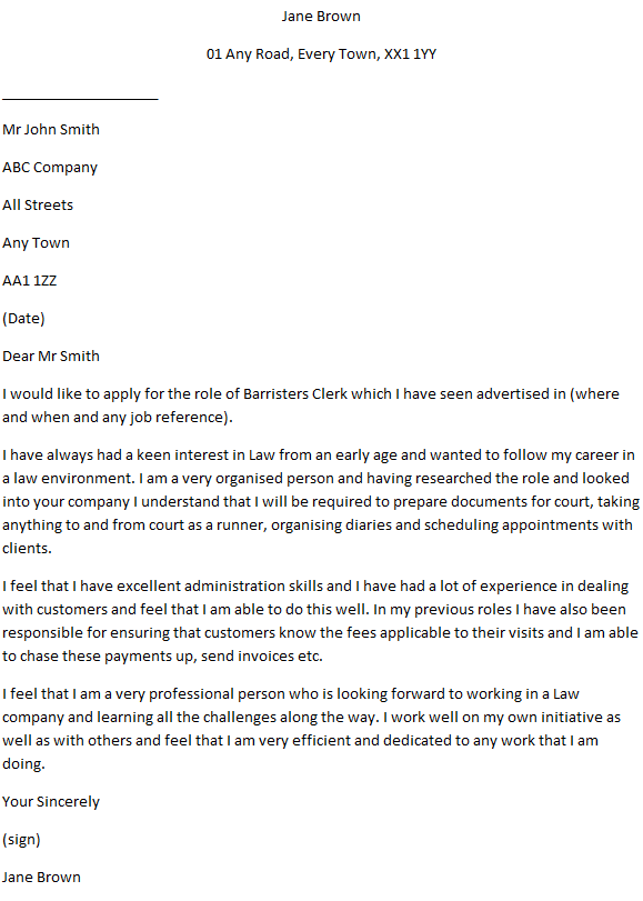Barristers Clerk Cover Letter Example - Learnist.org