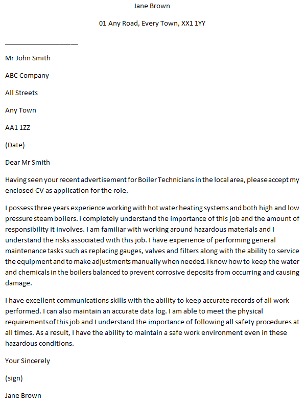 Boiler Technician Cover Letter Example For Job Applications
