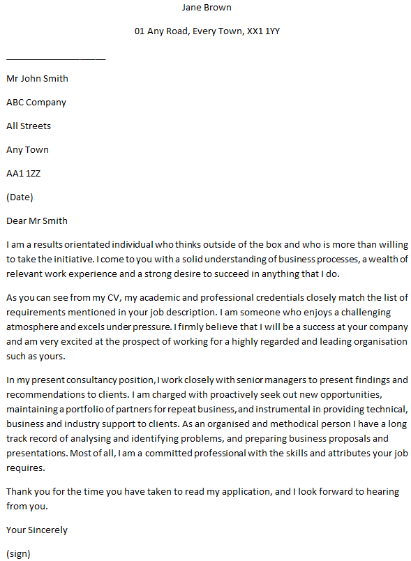 Business Consultant Cover Letter Example for Job ...