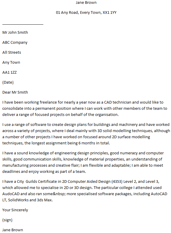CAD Technician Cover Letter Example