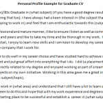CV Personal Profile Example for Graduate