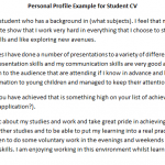 CV Personal Profile Example for Student
