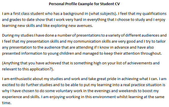 Cv Personal Profile Example For Student Learnist Org