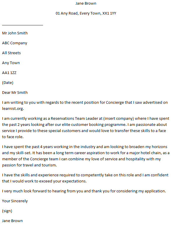 Cover Letter for a Concierge   Learnist.org