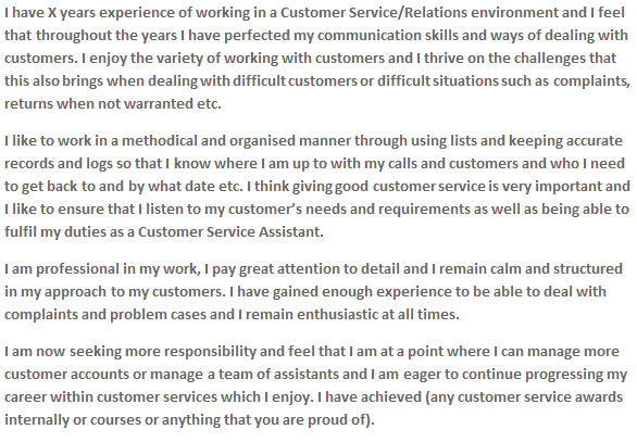 Customer Service CV Personal Statement Examples