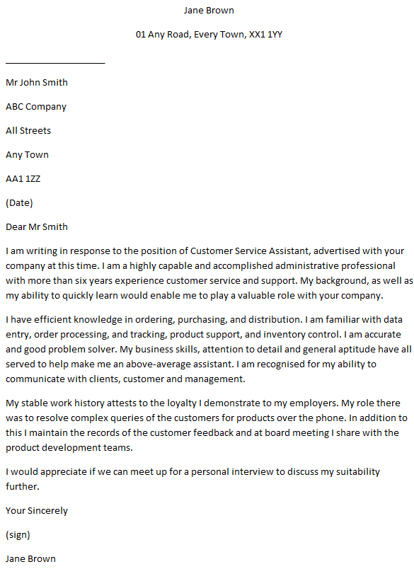 customer services assistant cover letter examples