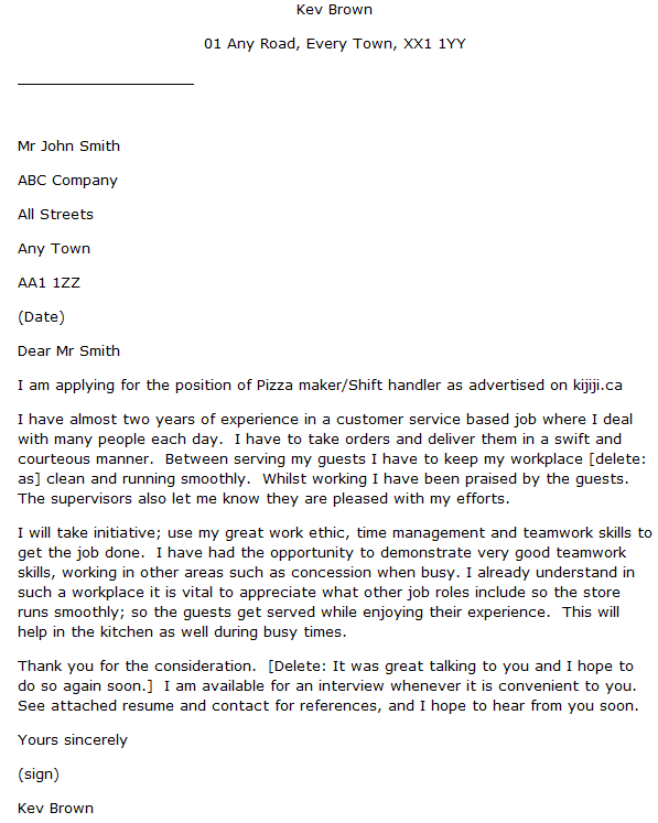 Customer service industry cover letter