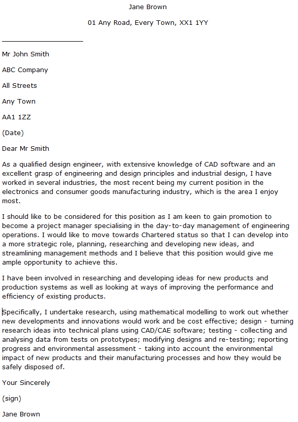 Design Engineer Cover Letter Example Learnist Org
