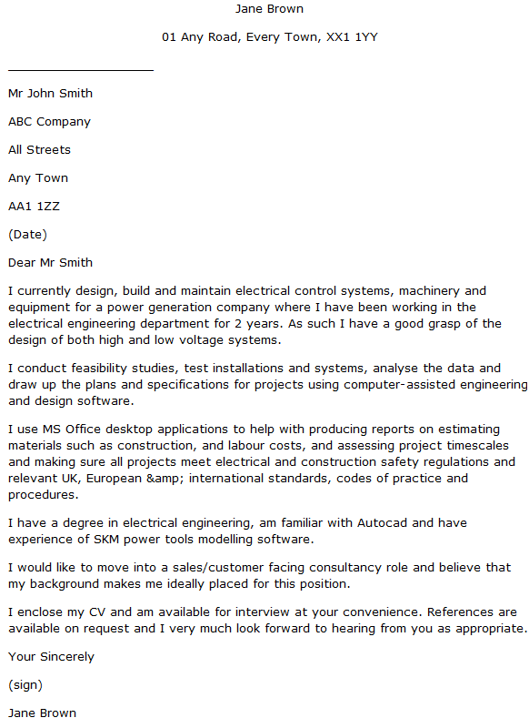 Electrical Design Engineer Cover Letter Example