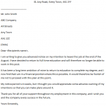 Employee Resignation Letter - Advance Notice
