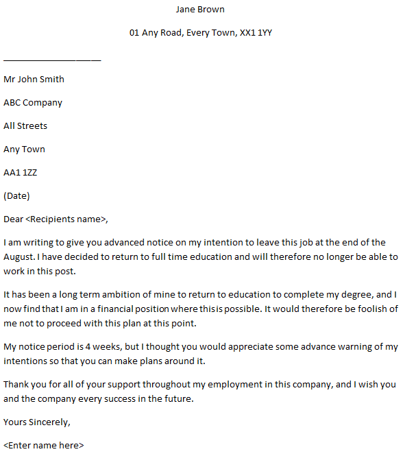 Employee Resignation Letter - Advance Notice - Learnist.org
