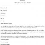 Formal 2 Weeks Notice resignation letter