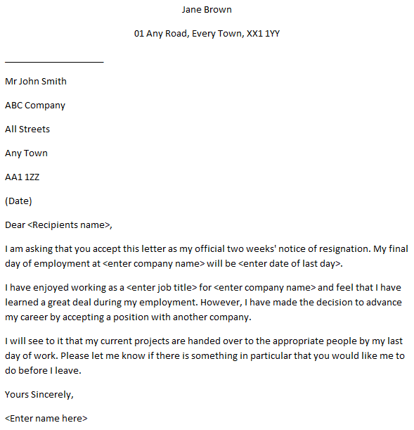 Formal 2 Weeks Notice resignation letter
