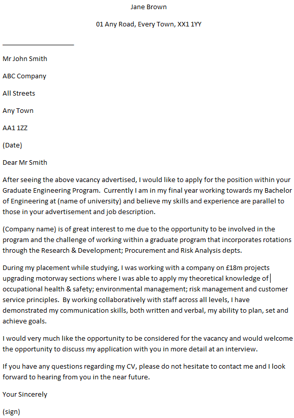 graduate engineer cover letter example
