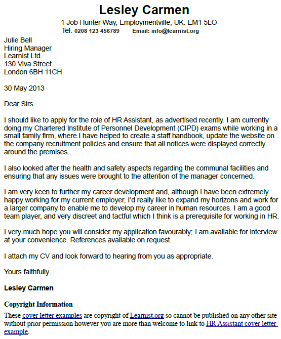 Sample Letter To Human Resources from www.learnist.org