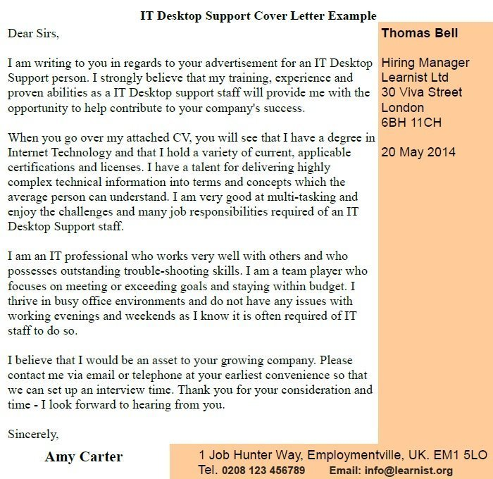 IT Desktop Support Cover Letter Example - Learnist org