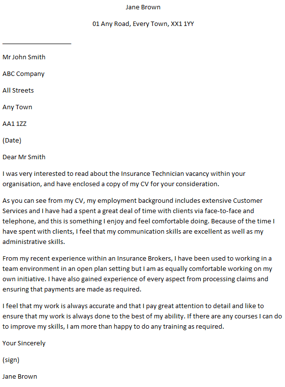 Insurance Technician Cover Letter Example and Job Description ...