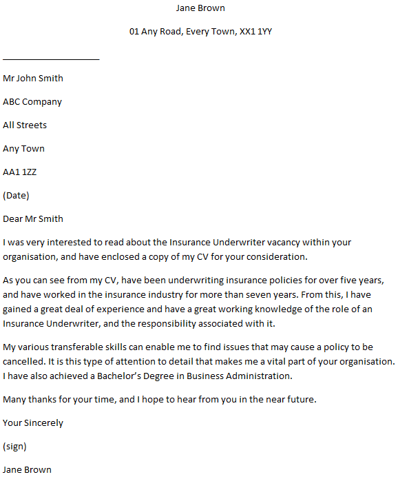 Insurance Underwriter Cover Letter Example