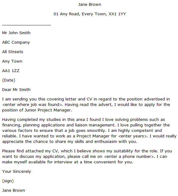 Junior Project Manager Cover Letter Example