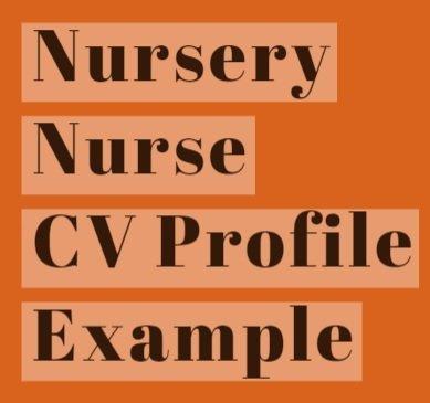Nursery Nurse CV Profile Example