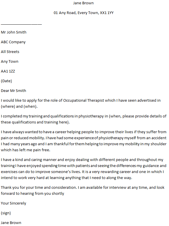 Occupational Therapist Cover Letter Example