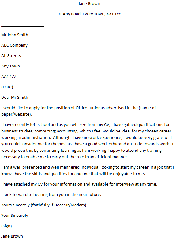 Office Trainee Cover Letter Example