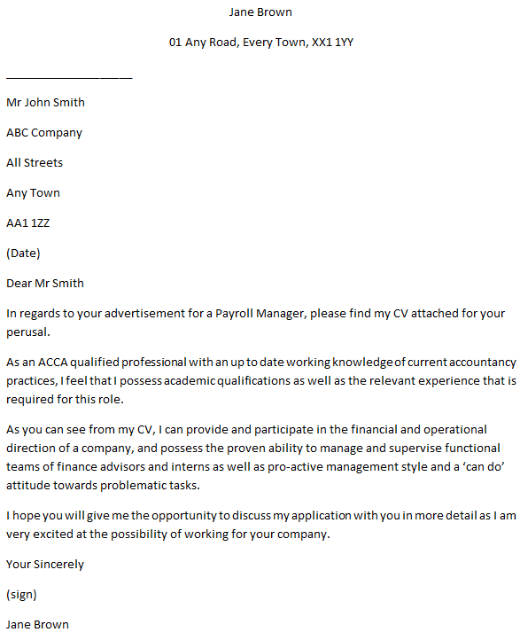 Payroll Manager Cover Letter Example Learnist Org