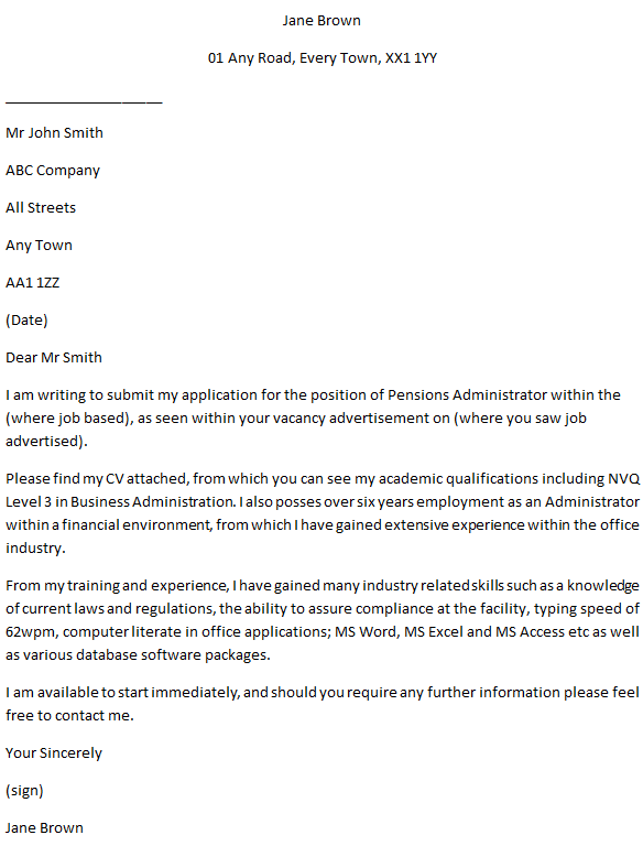 Pensions Administrator Cover Letter Example for Jobs ...